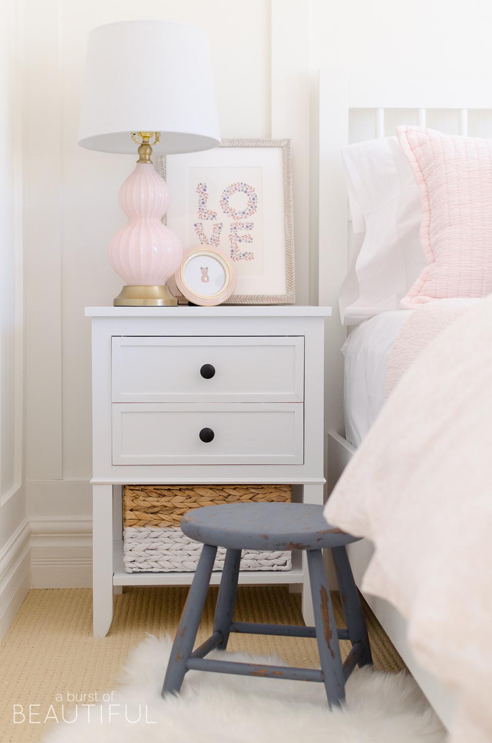 Toddler Girl Pink Bedroom Design & Decor side table artwork and lamp