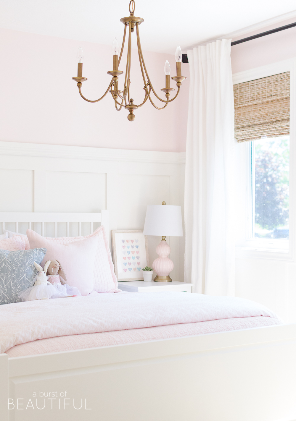 Toddler Girl Pink Bedroom Design & Decor Ideas with chandalier and stuffed animals