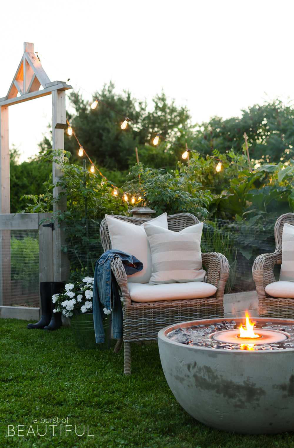 Adding ambiance to our outdoor living space outdoor fire for Creating an outdoor living space