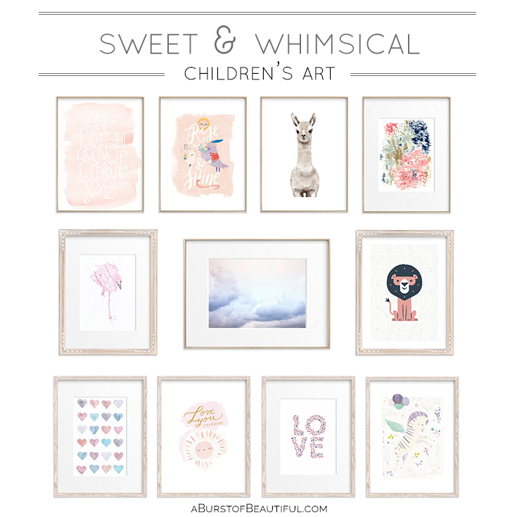 Create a fresh and youthful bedroom or playroom with this sweet & whimsical art for girls