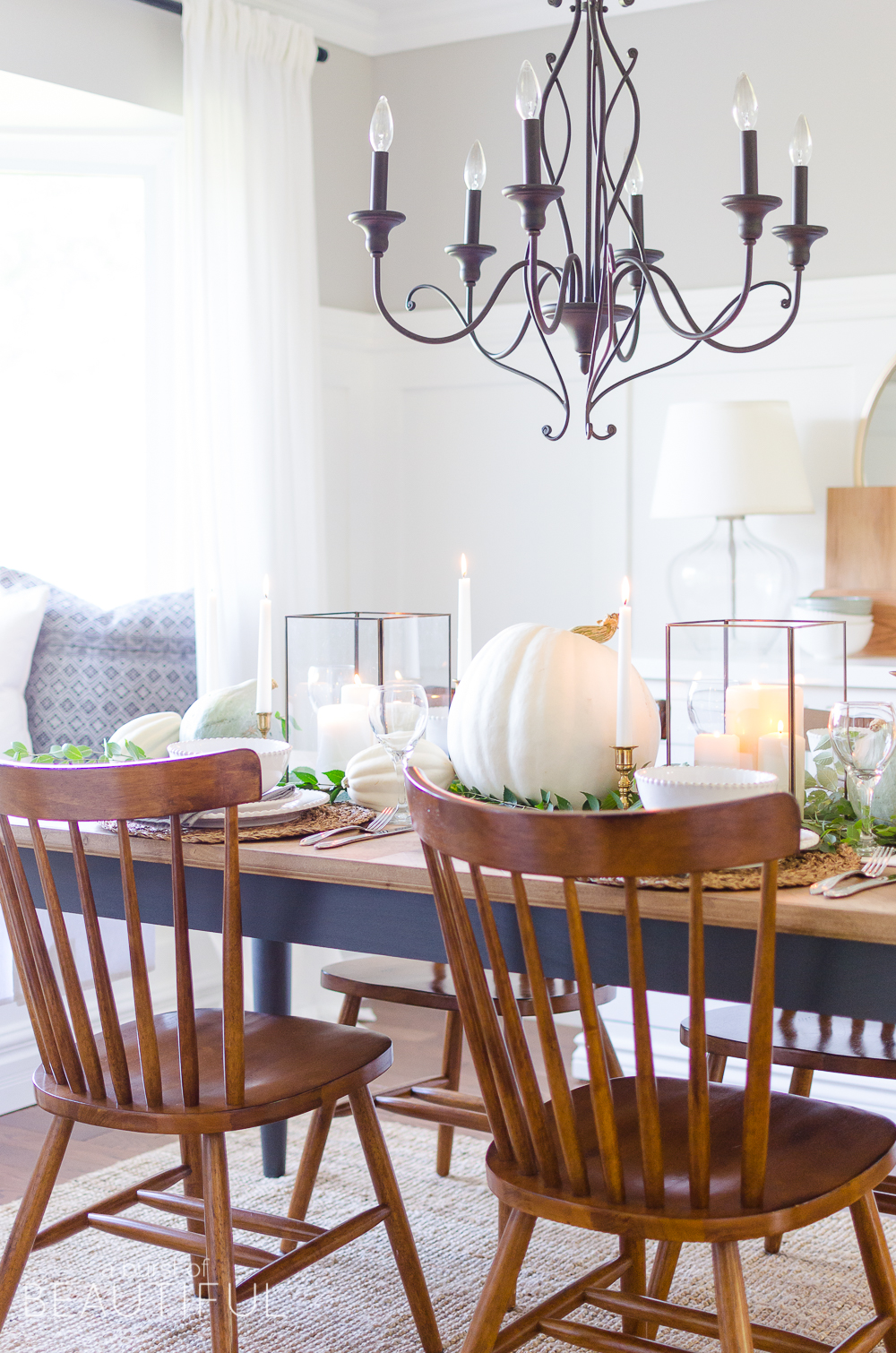 Neutral Fall Tablescape with Pumpkins and Squash