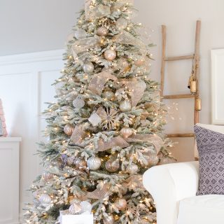 A Snowy Flocked Christmas Tree