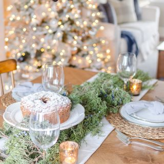 Simple Christmas Tablescape with Fresh Greenery