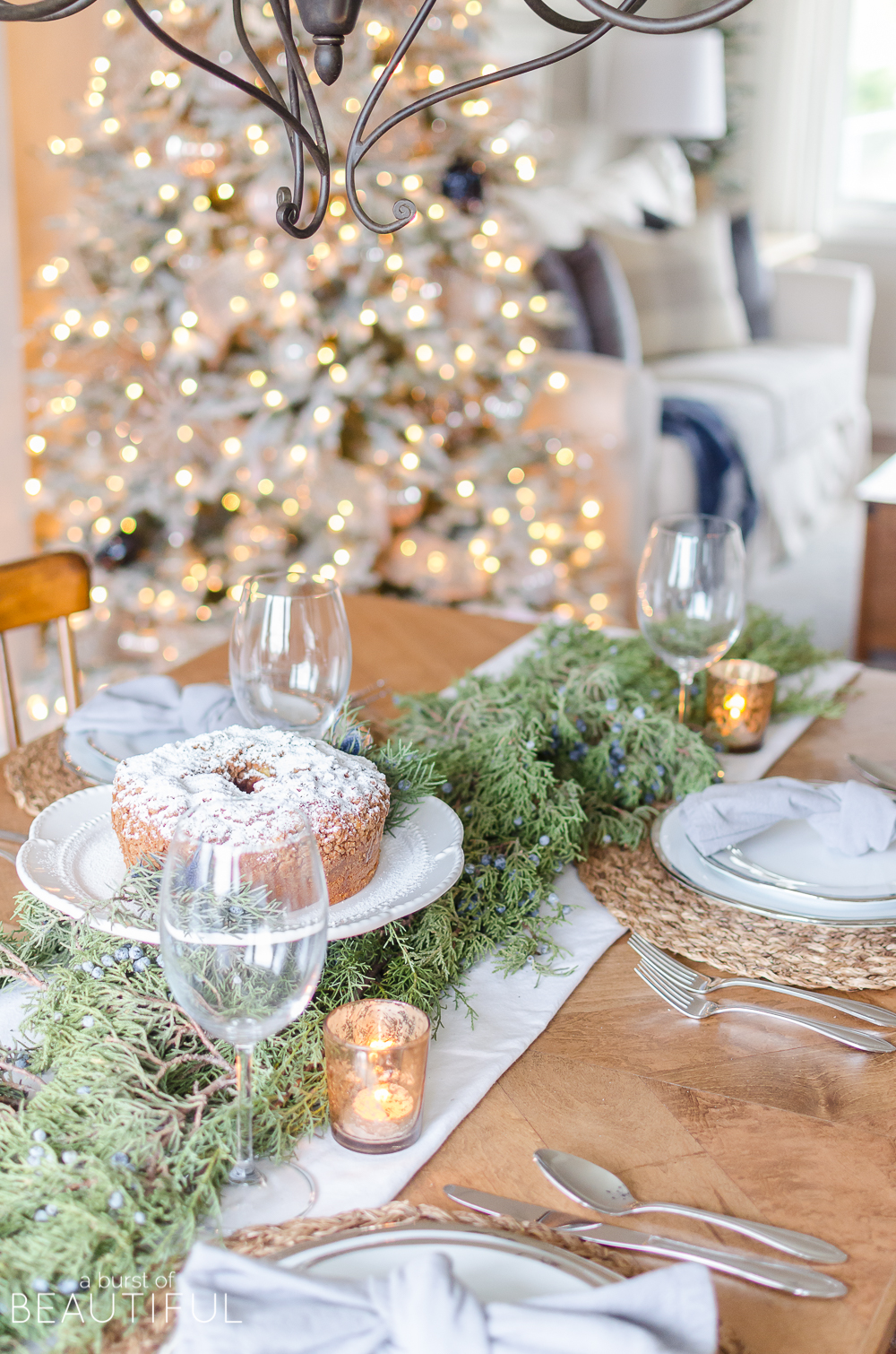 Simple Christmas Tablescape With Fresh Greenery A Burst Of Beautiful
