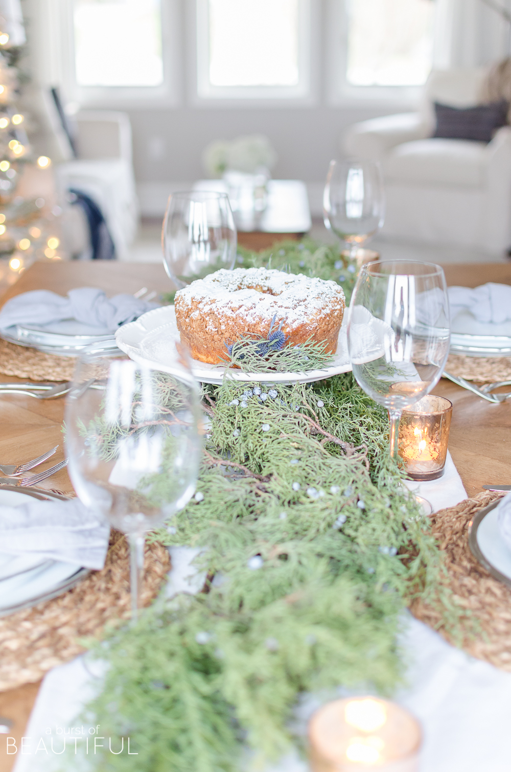 Simple Christmas Tablescape with Fresh Greenery - A Burst of Beautiful