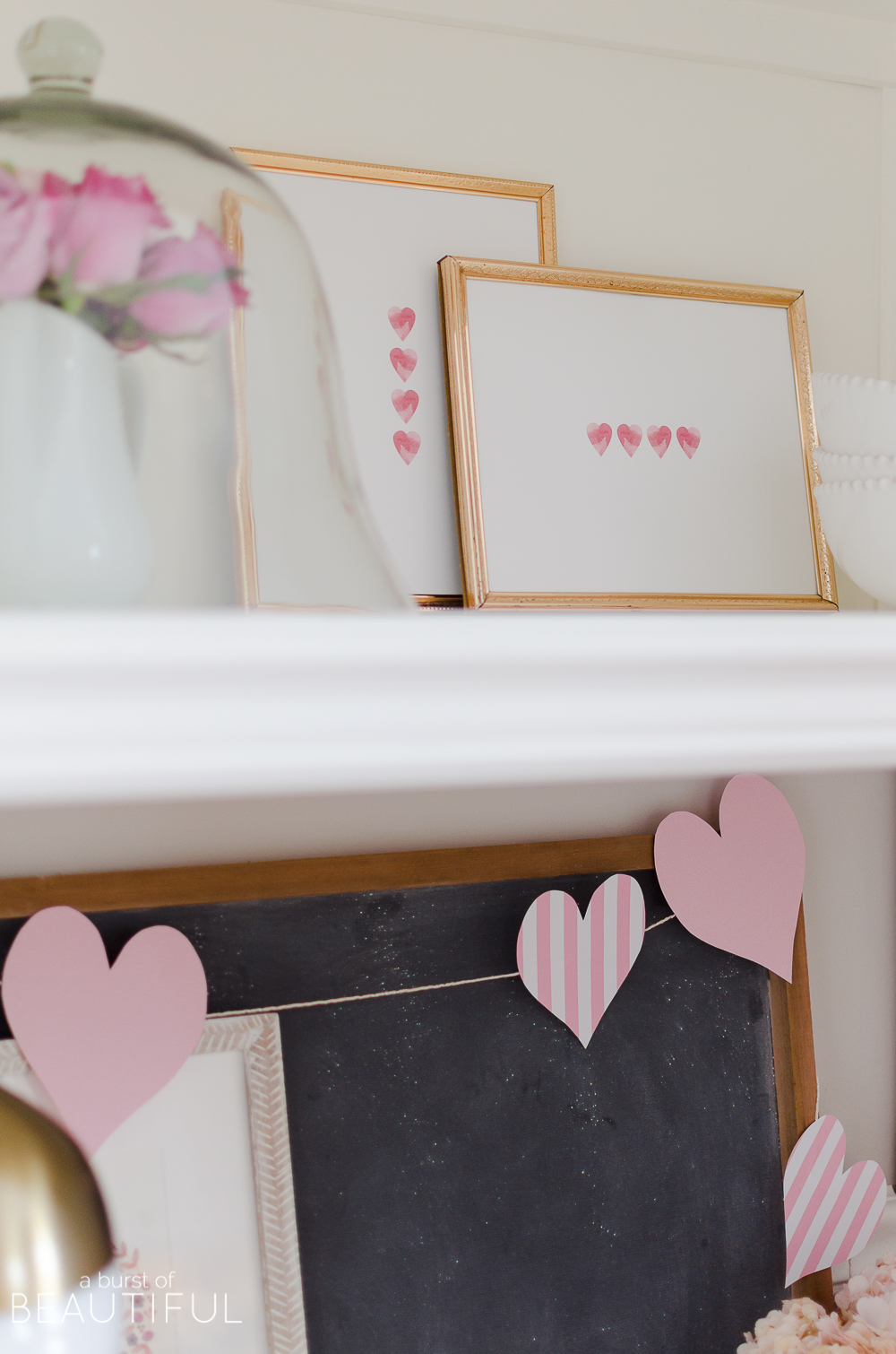 Decorate your home for Valentine's Day with these simple Valentine's Day decor ideas, including two free printables