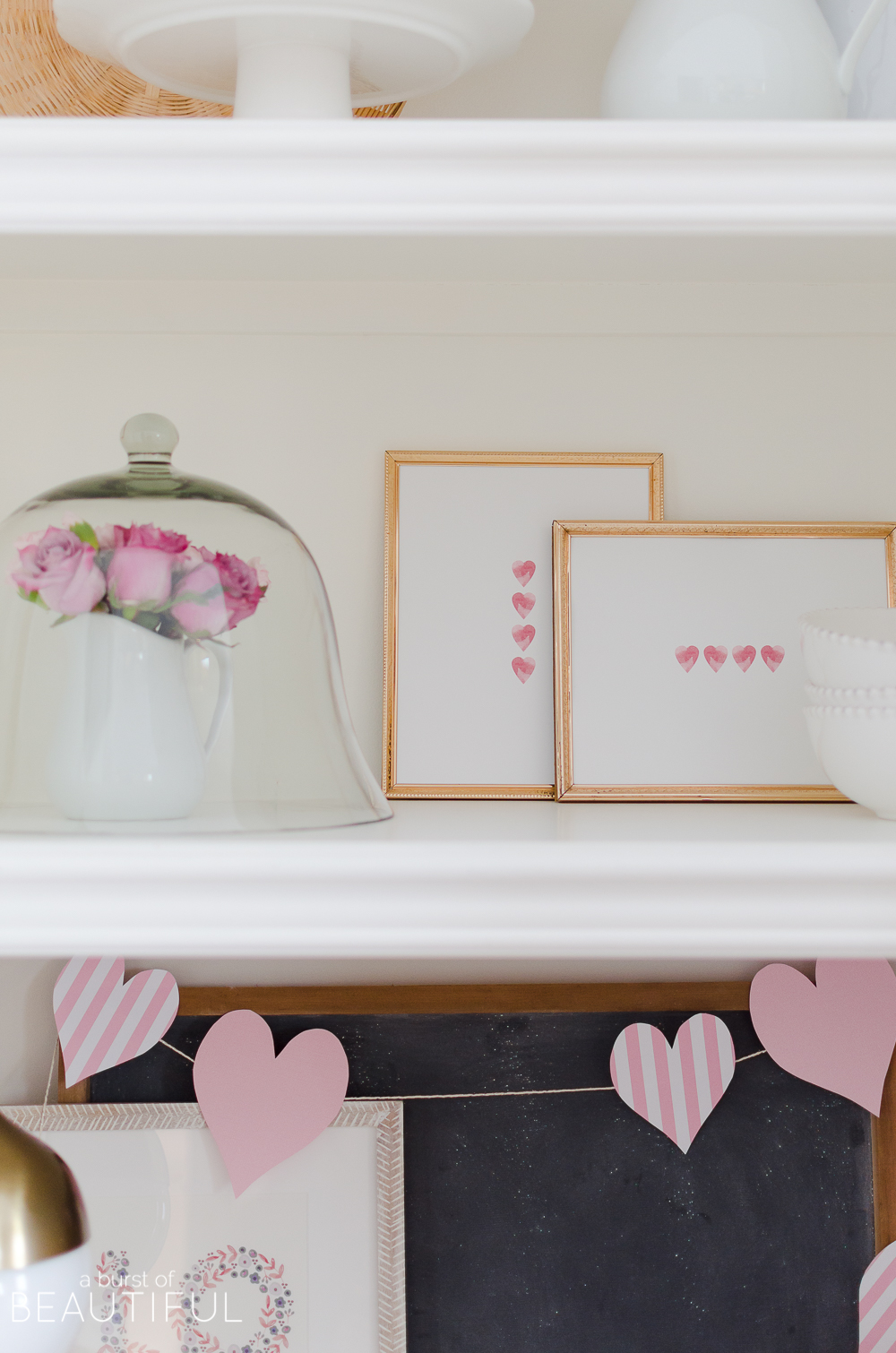 Simple Valentine\'s Day Decor and Free Printables - A Burst of Beautiful