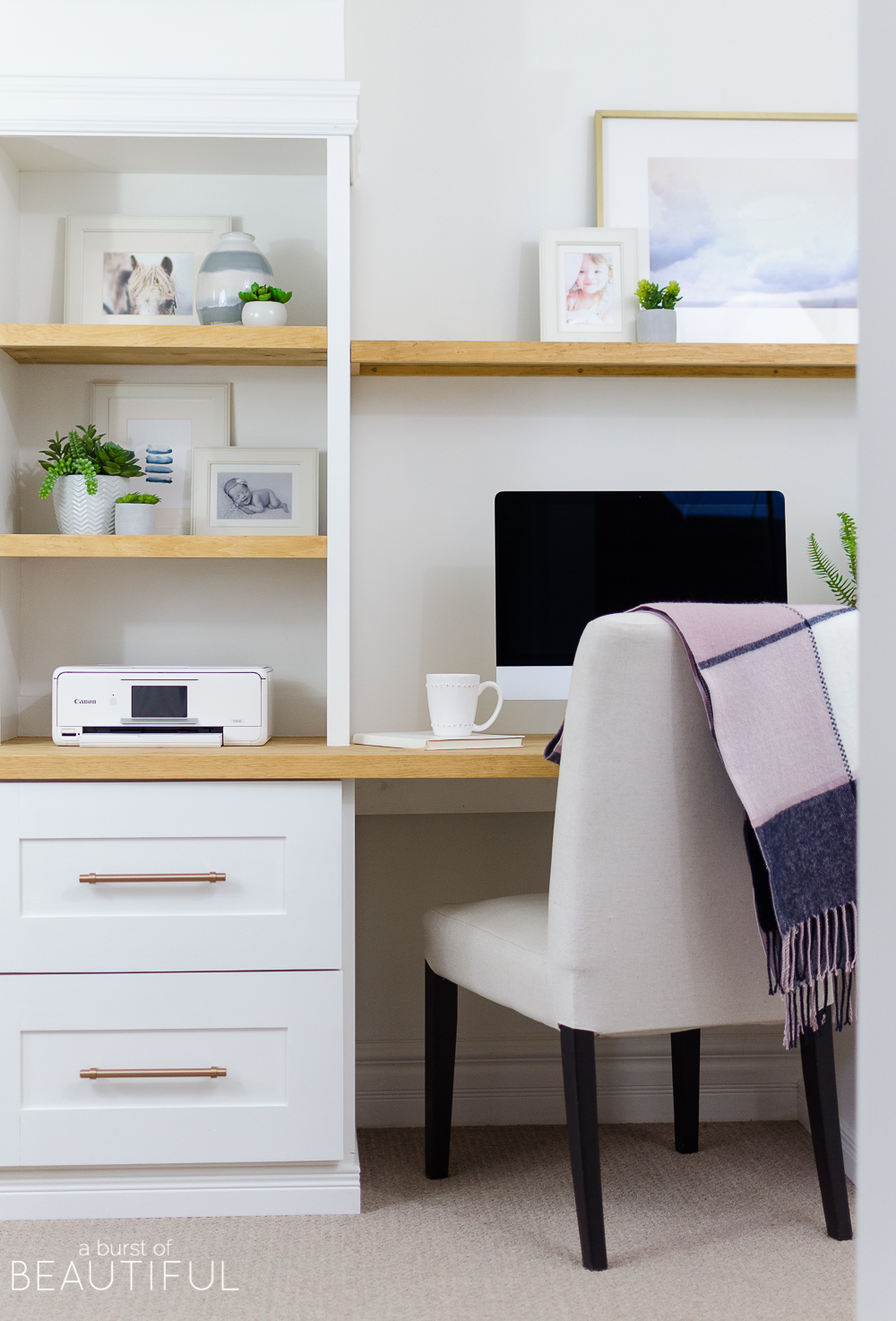 A DIY built-in office nook provides the perfect space for a home office or homework zone.