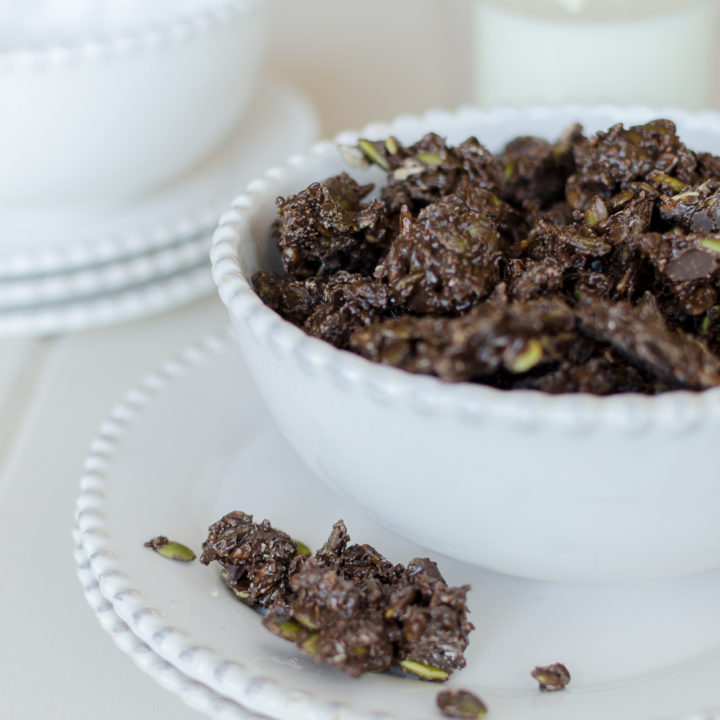 Healthy dark chocolate bites made with dark chocolate, sunflower seeds, pumpkin seeds and coconut are a perfectly satisfying and healthy snack.