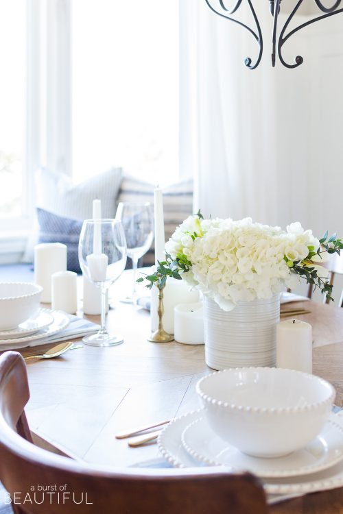 Simple Blue and White Spring Tablescape