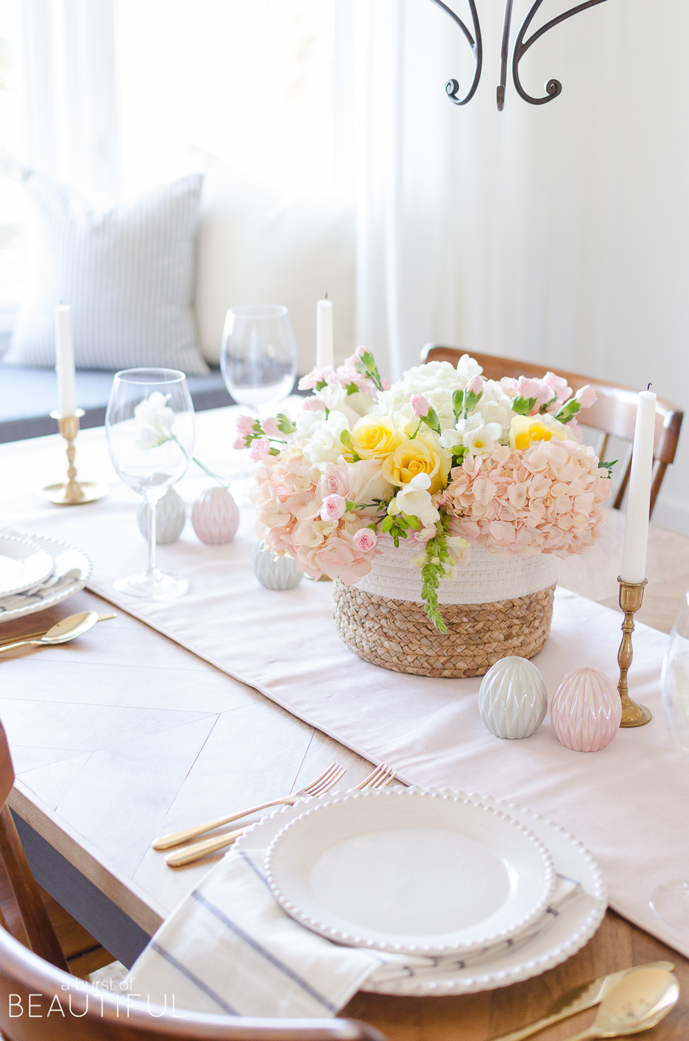 Host a beautiful Easter brunch or dinner with these colorful Easter tablescape and centerpiece ideas.
