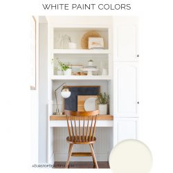 The best white paint colors for walls, trim and furniture.  #WhitePaint #BenjaminMoore #NeutralPaint #NeutralColors