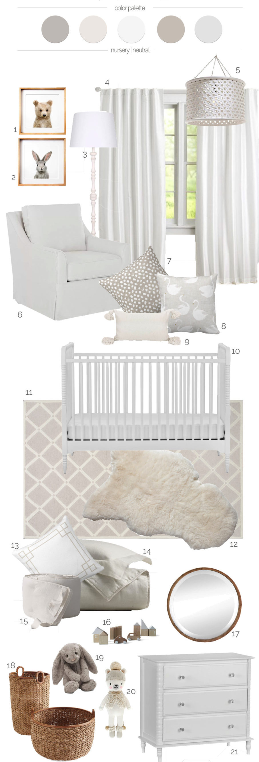 Designing a gender neutralnursery with furniture in classic designs and incorporating simple accessories will easily allow the addition of color and pattern to be added onceyour little one arrives.