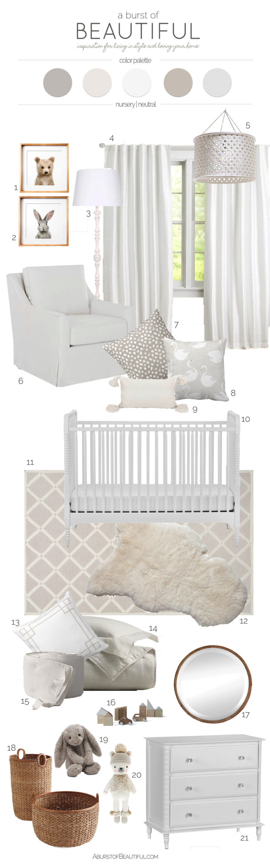 Designing a gender neutral nursery with furniture in classic designs and incorporating simple accessories will easily allow the addition of color and pattern to be added once your little one arrives.