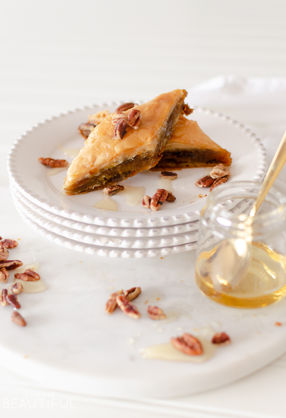 Our Pumpkin Pie Baklava is a modern variation to traditional Greek baklava recipes. Decadent pumpkin pie filling, pecans, and honey baked between layers of phyllopastry create an irresistible fall dessert that will quickly become a seasonal favorite.