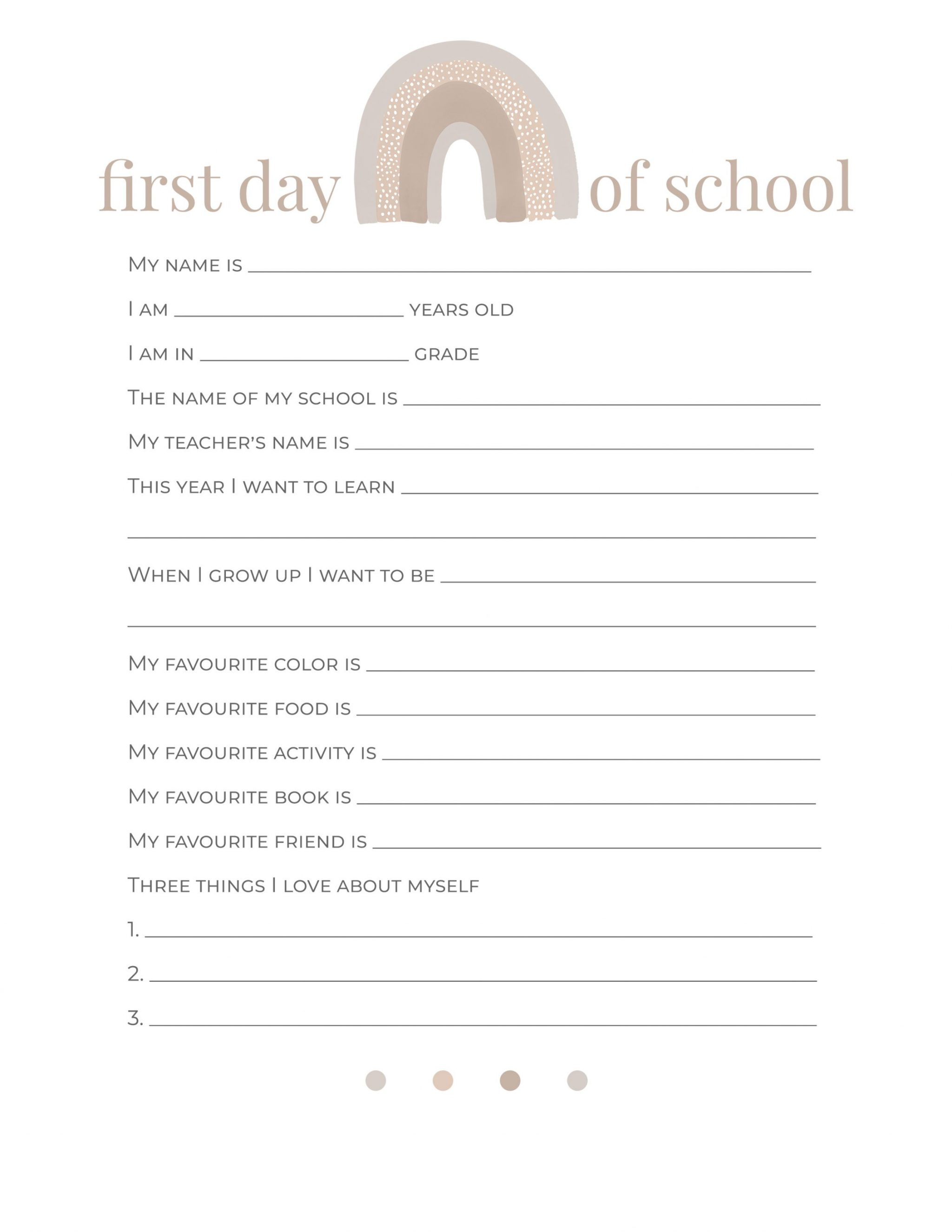 First day of school questionnaire free download pdf