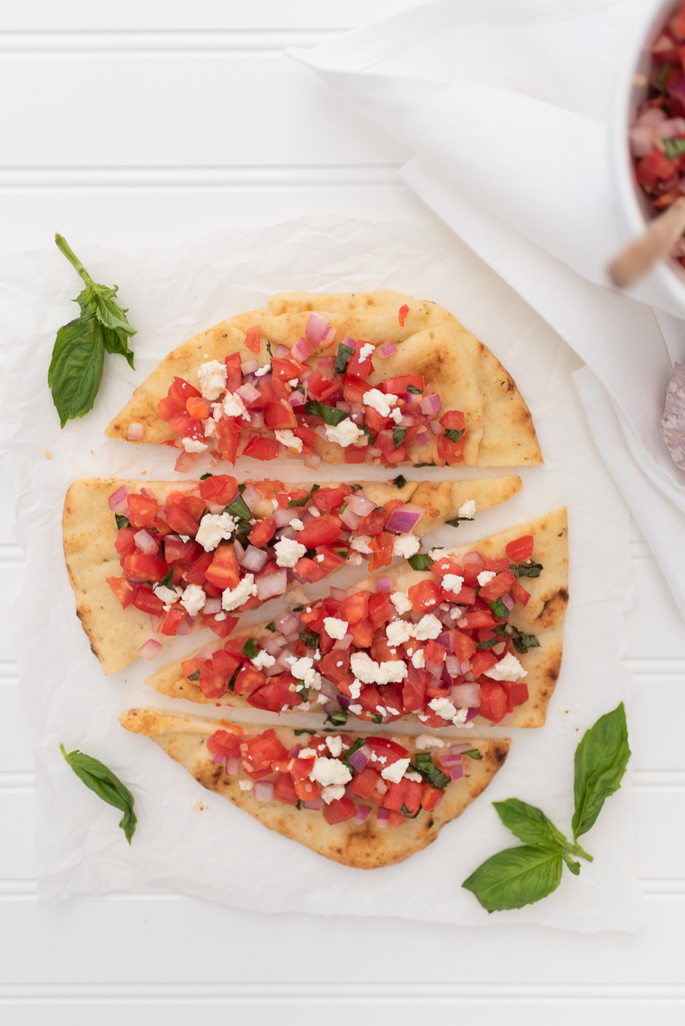 Simple and Fresh Basil Tomato & Feta Bruschetta Flatbread