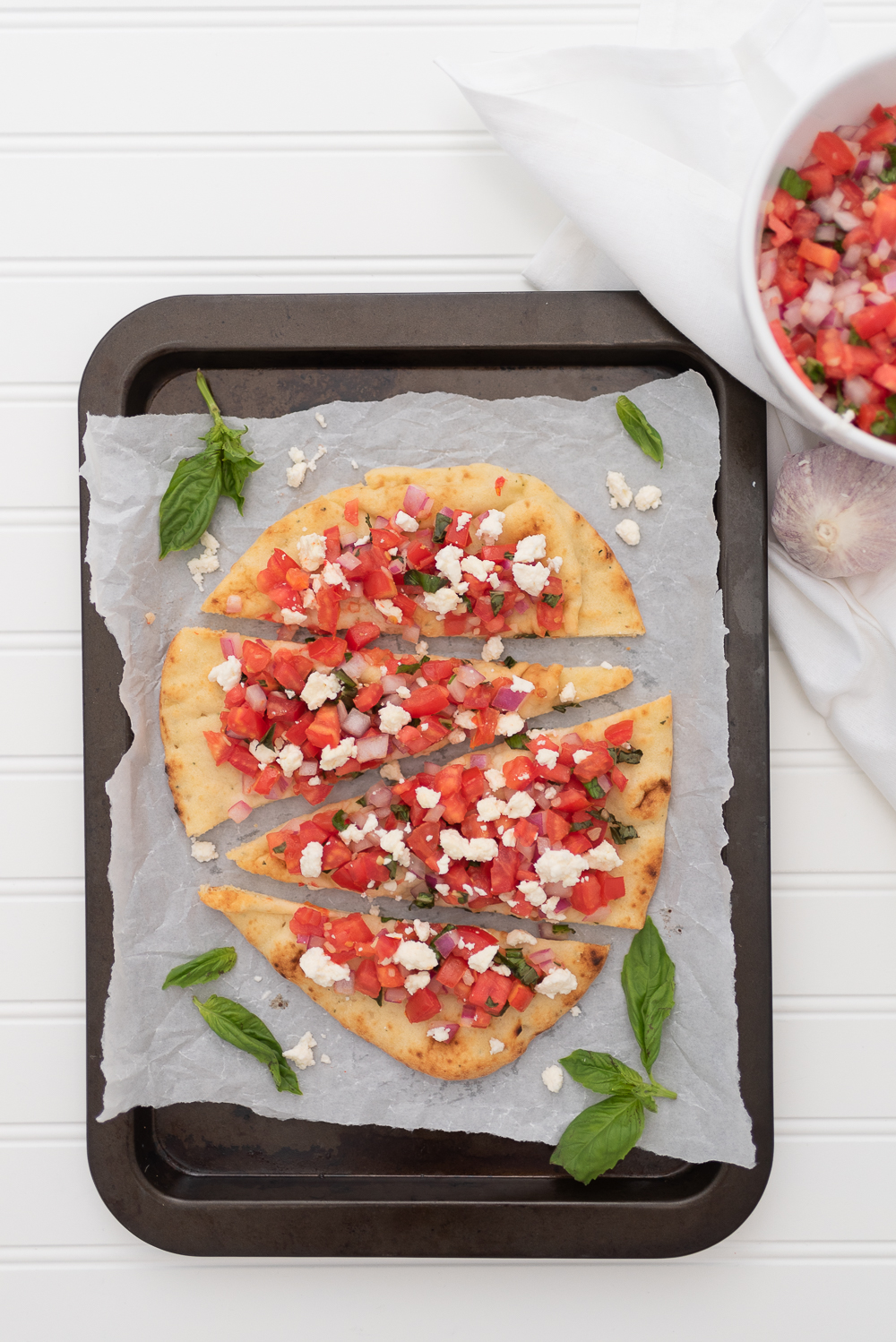 Simple and Fresh Tomato & Feta Bruschetta Flatbread