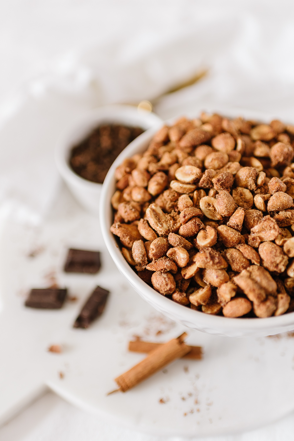 Spiced candied nuts roasted in a bowl
