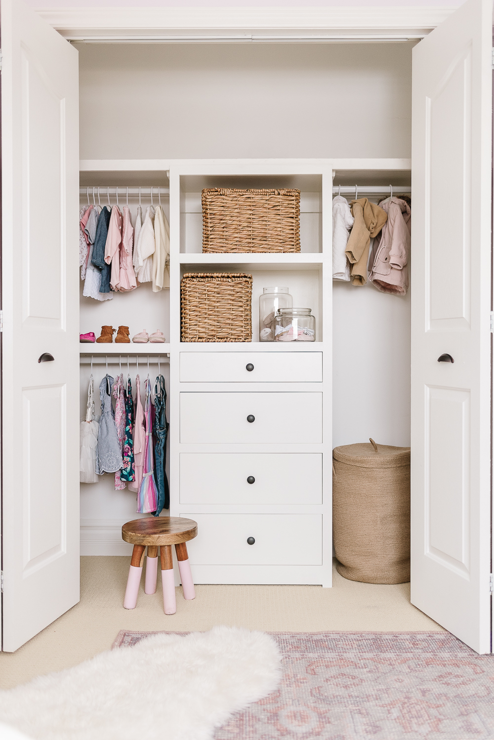 kids closet organization with drawers and baskets