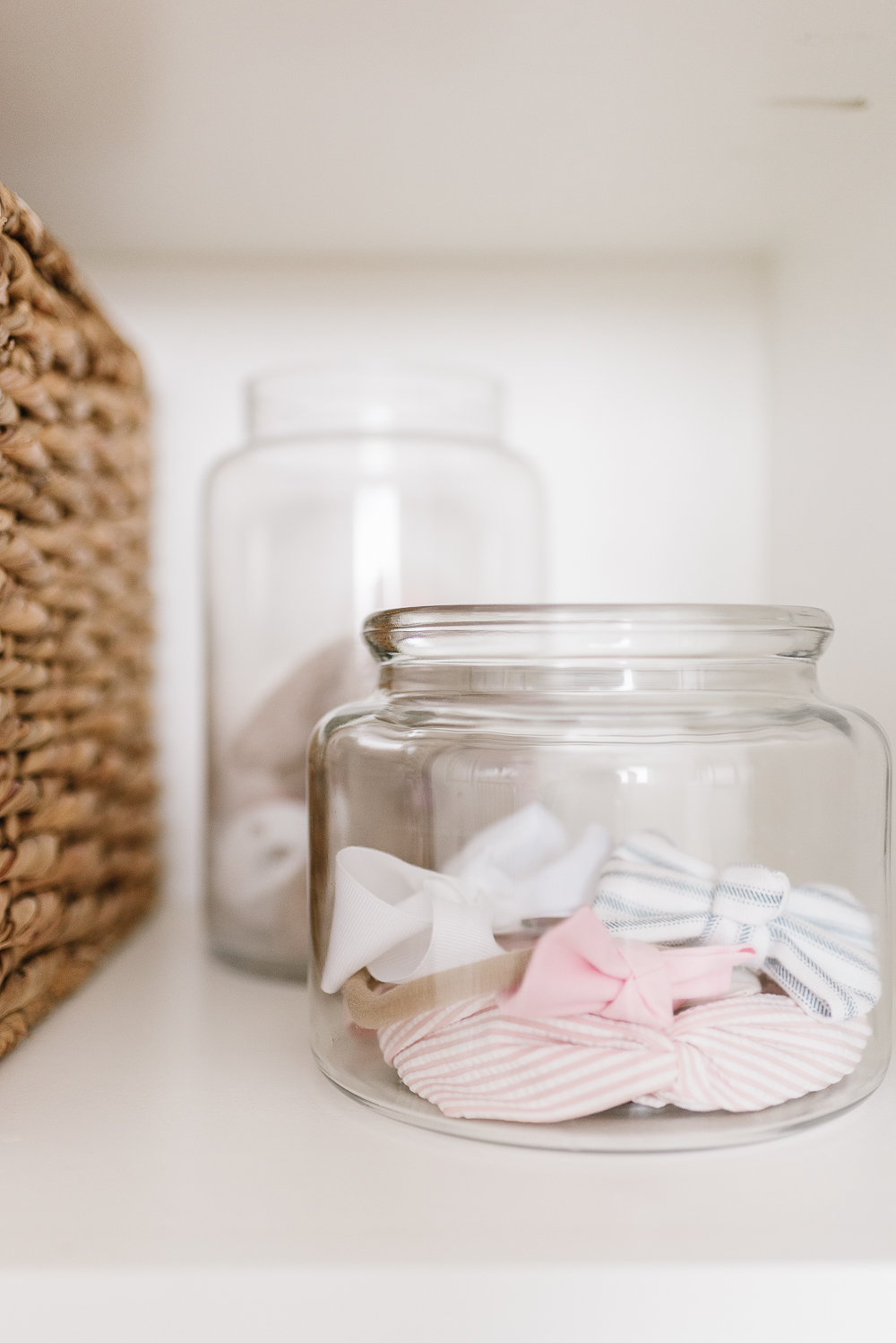 jars with bows in closet organization system diy free plans