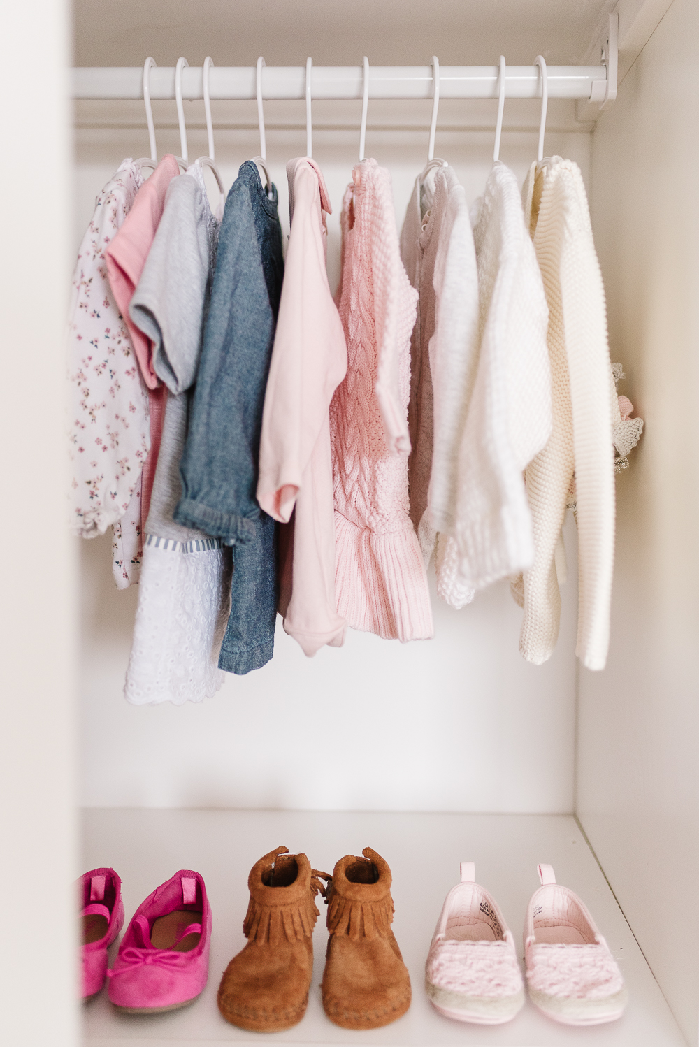 Hanging clothes and shoes in closet organization system