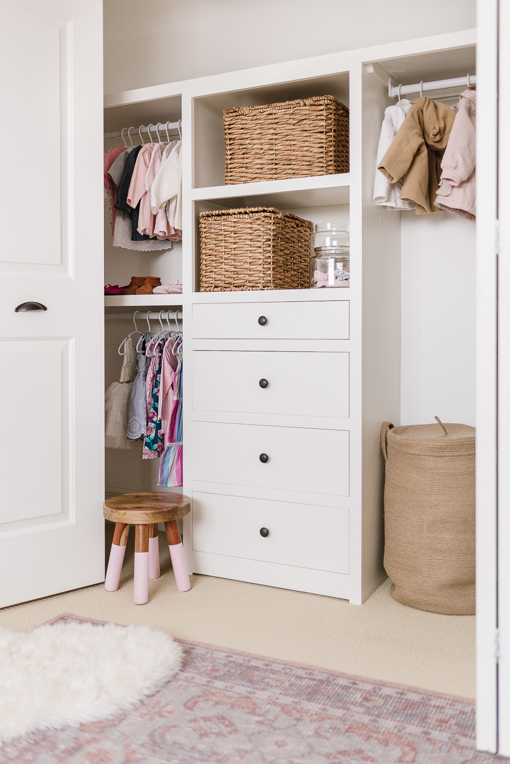 Closet Organization system with drawers and shelves built-in