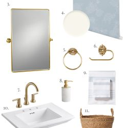 Traditional and Feminine Bathroom Design Board