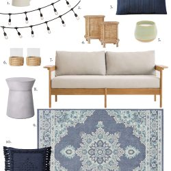 Design board featuring a coastal-inspired outdoor living space
