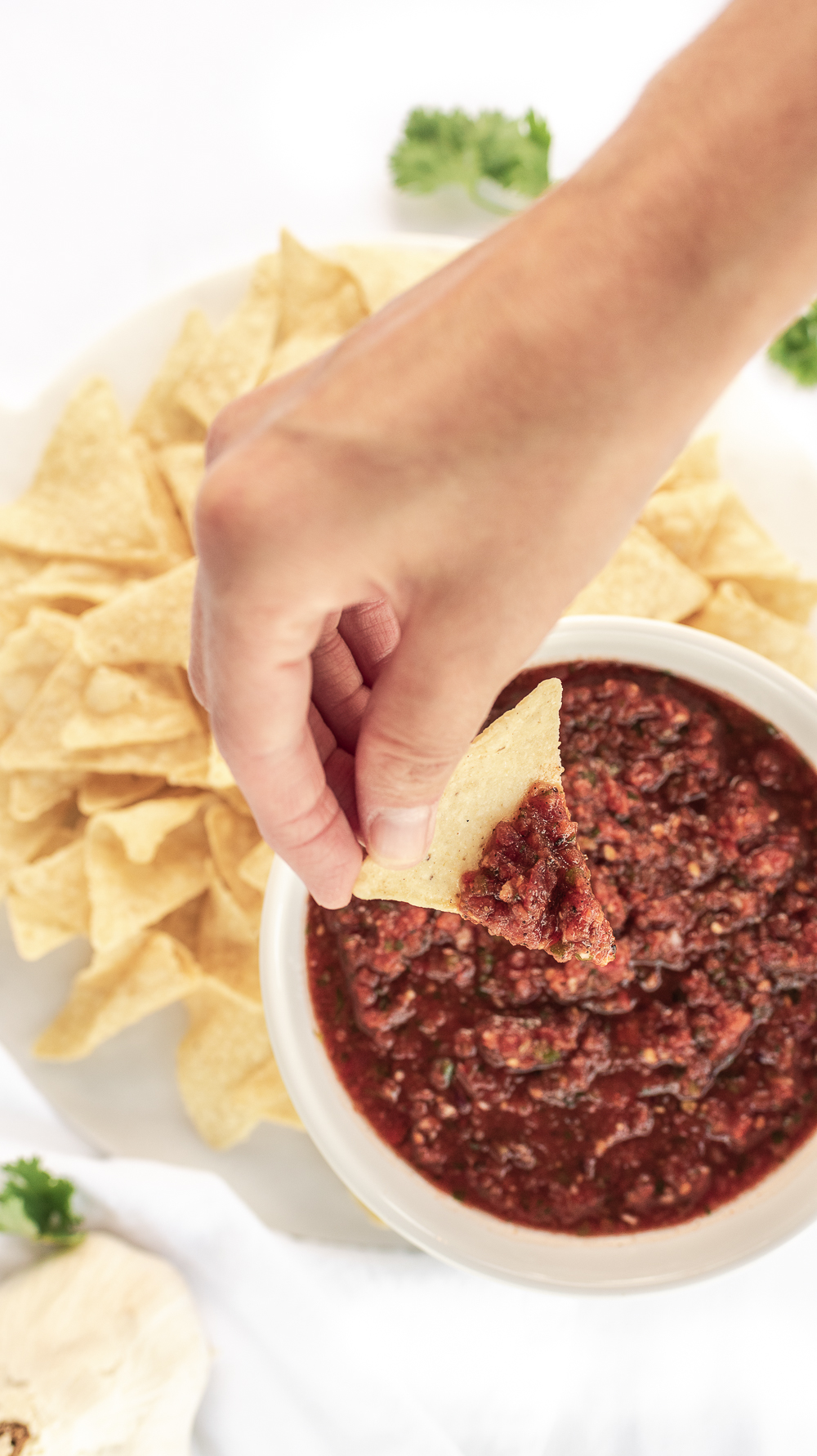 dip tortilla chip into fresh homemade salsa with Roma tomatoes