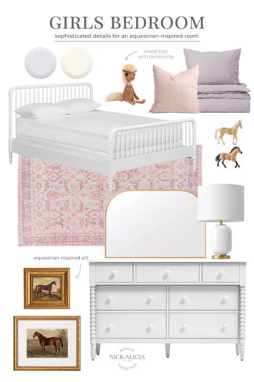 Equestrian-Inspired Girls Bedroom Design Plan