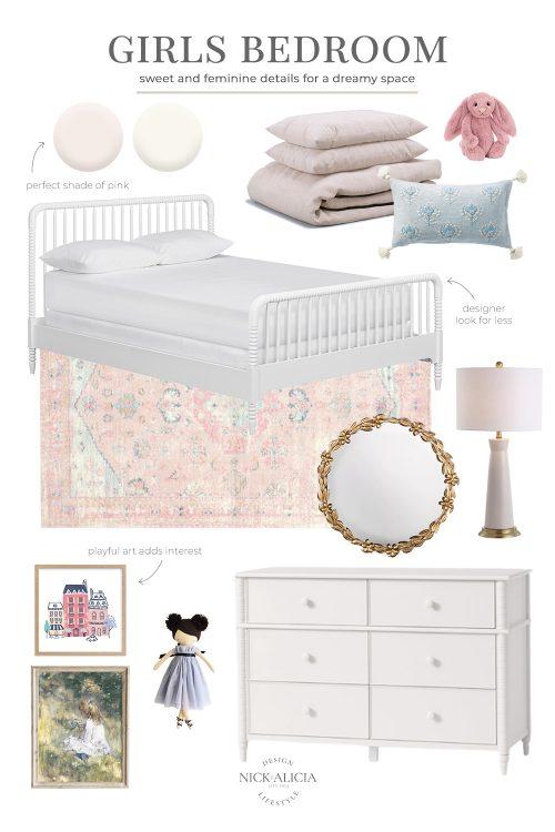 Pink and Blue Girls Bedroom Design Plan